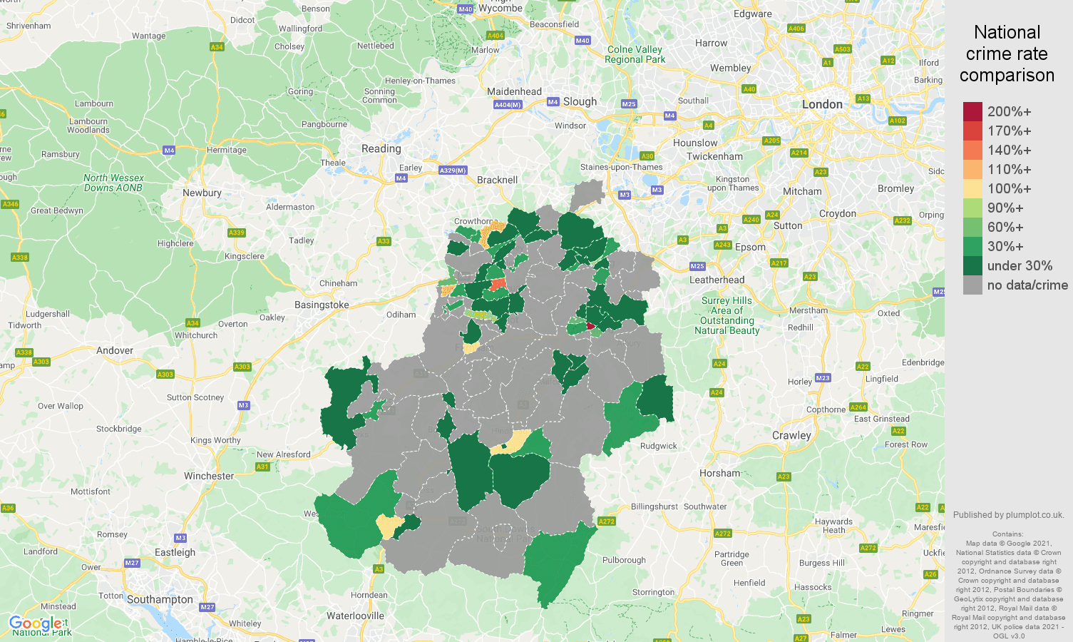 Guildford theft from the person crime rate comparison map