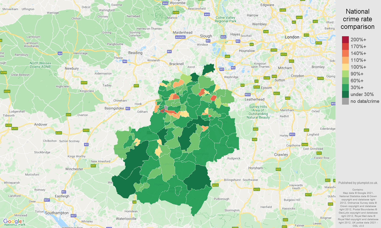Guildford violent crime rate comparison map
