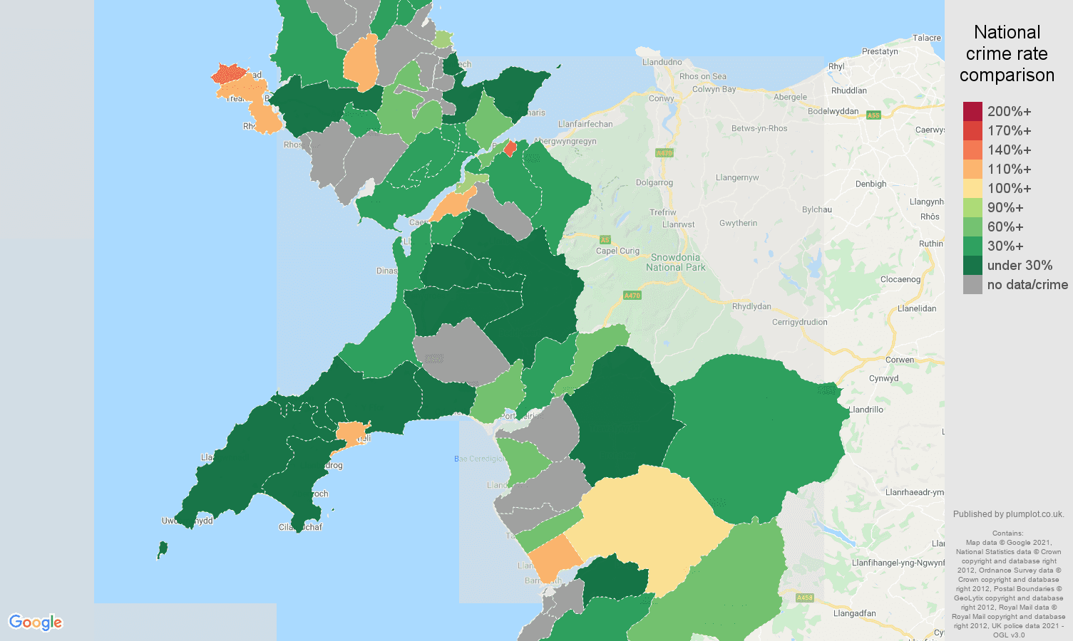 Gwynedd drugs crime rate comparison map