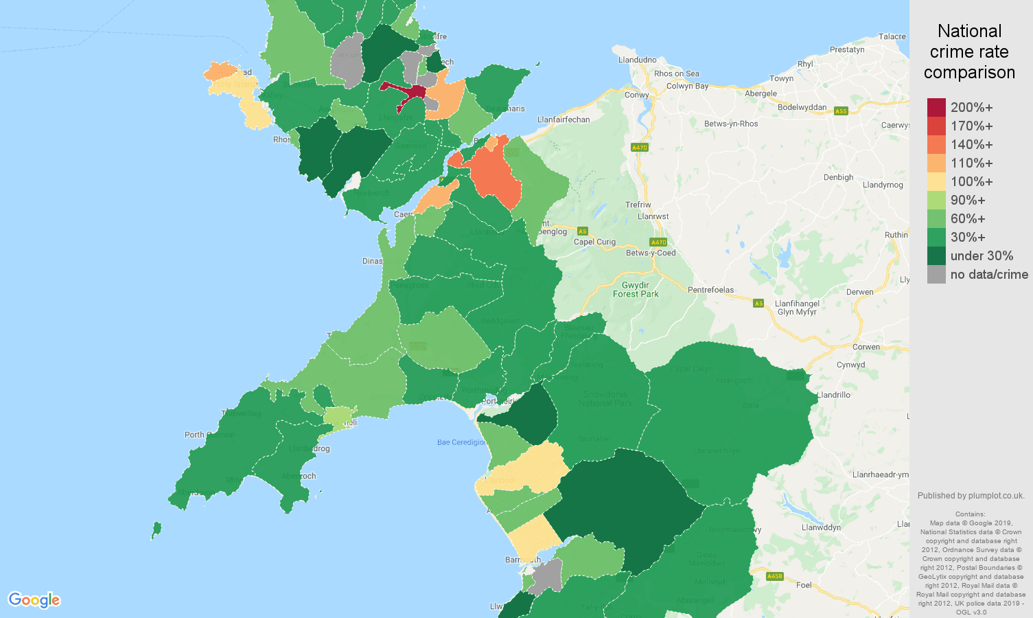 Gwynedd other theft crime rate comparison map