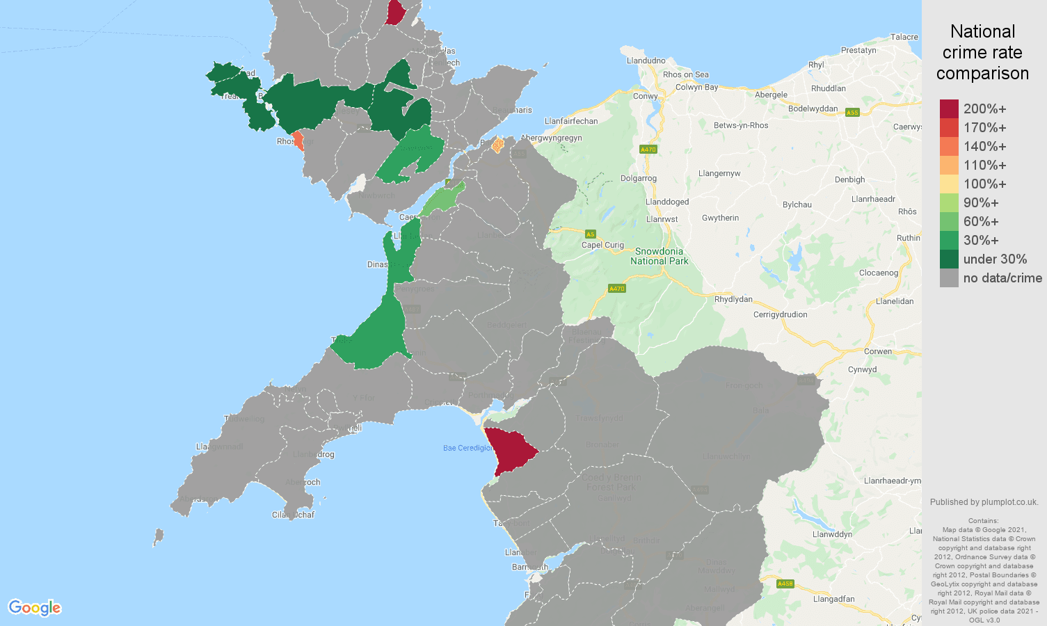 Gwynedd theft from the person crime rate comparison map