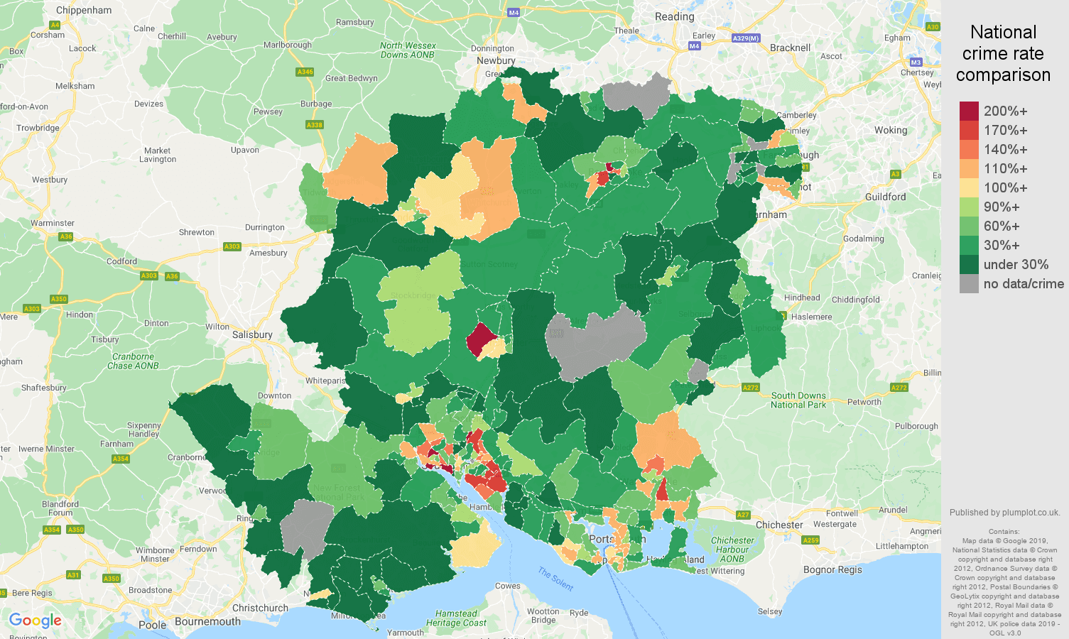 Hampshire other crime rate comparison map
