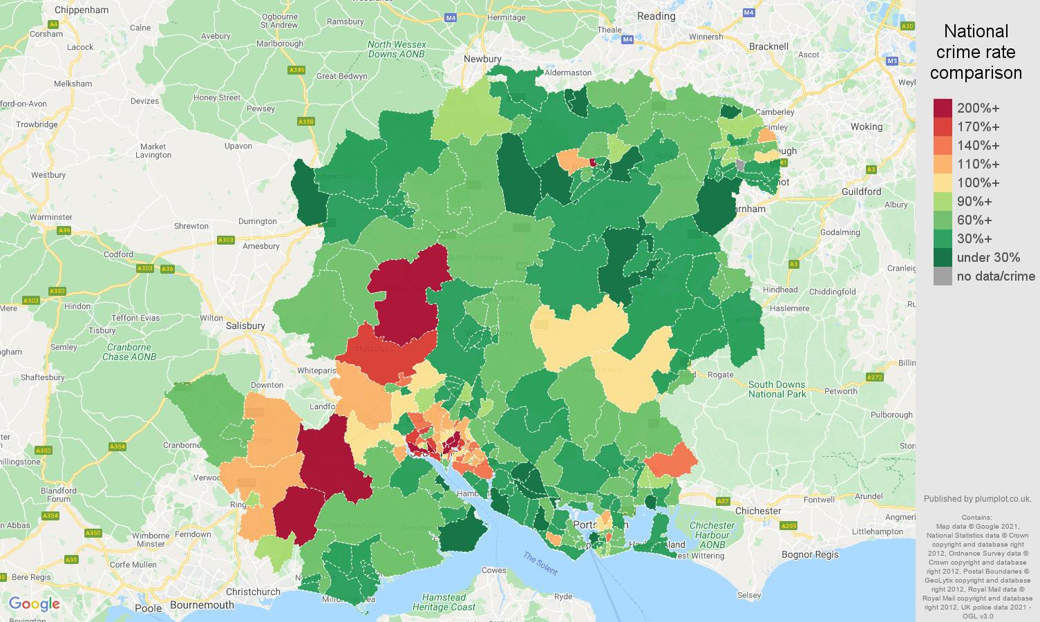Hampshire vehicle crime rate comparison map