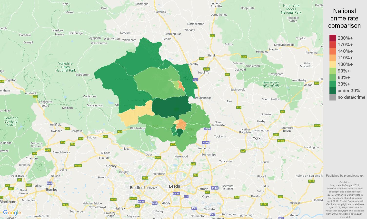 Harrogate criminal damage and arson crime rate comparison map