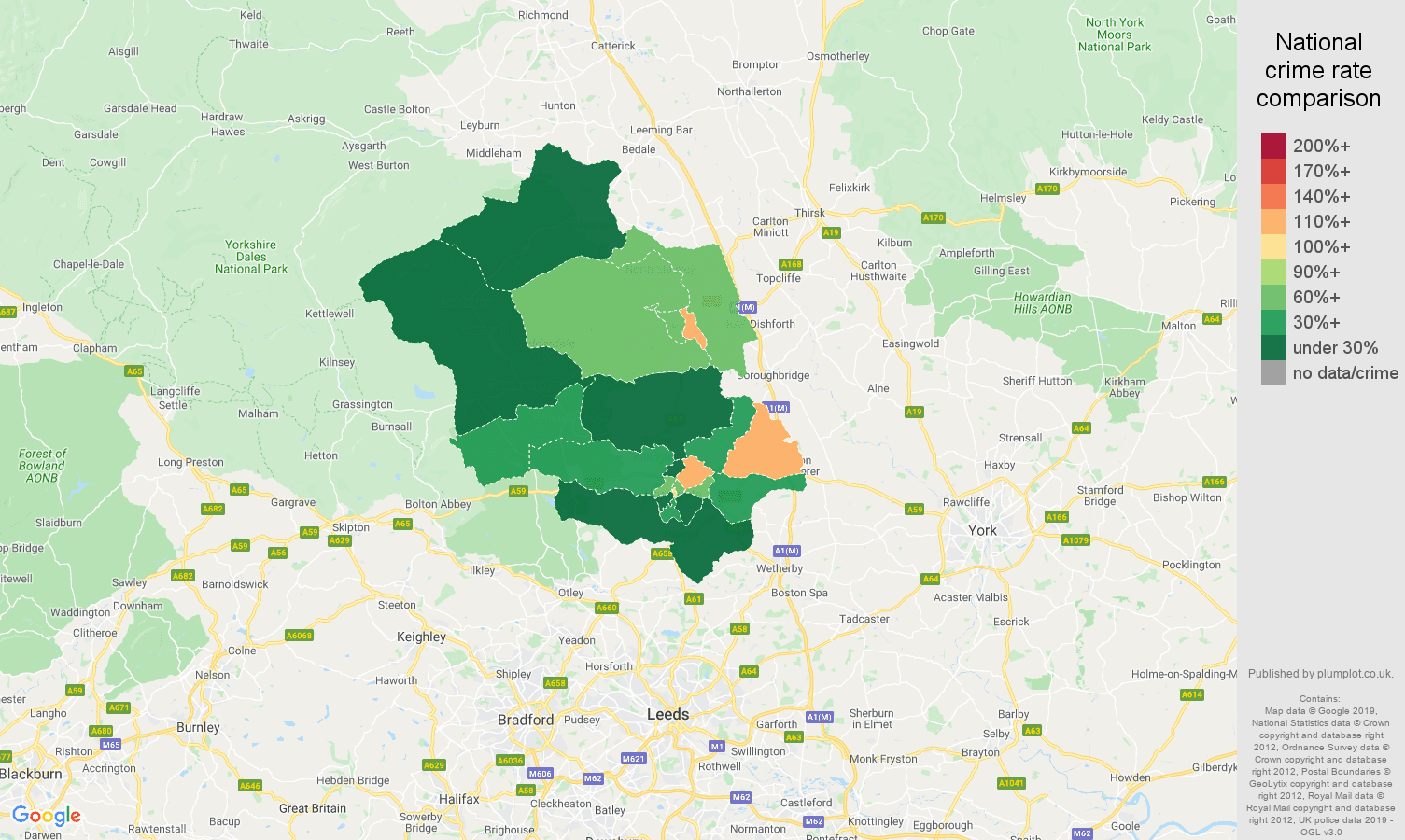 Harrogate other crime rate comparison map