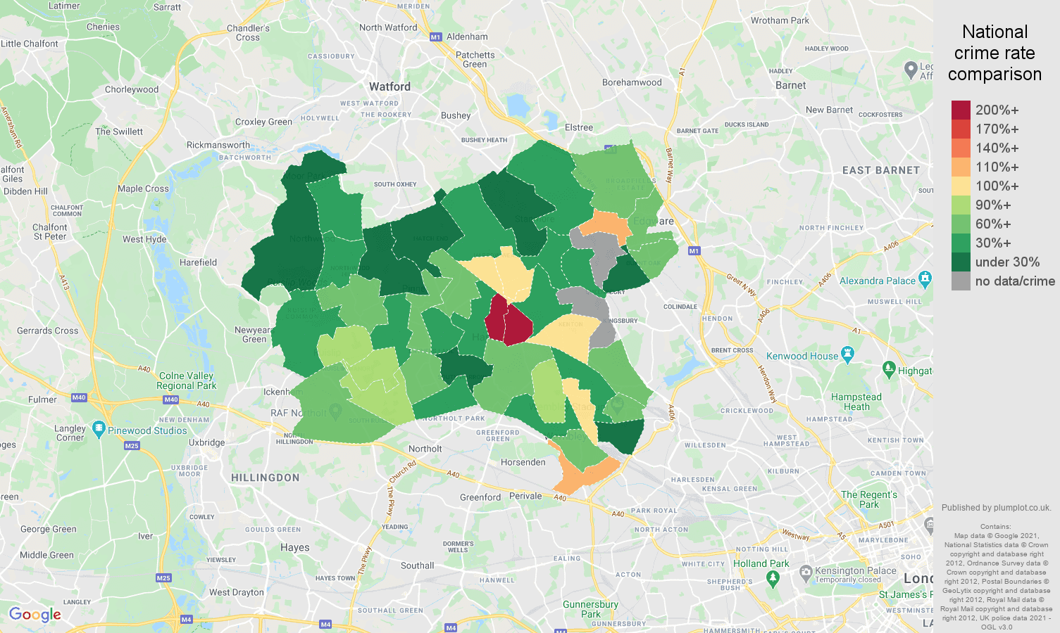 Harrow bicycle theft crime rate comparison map
