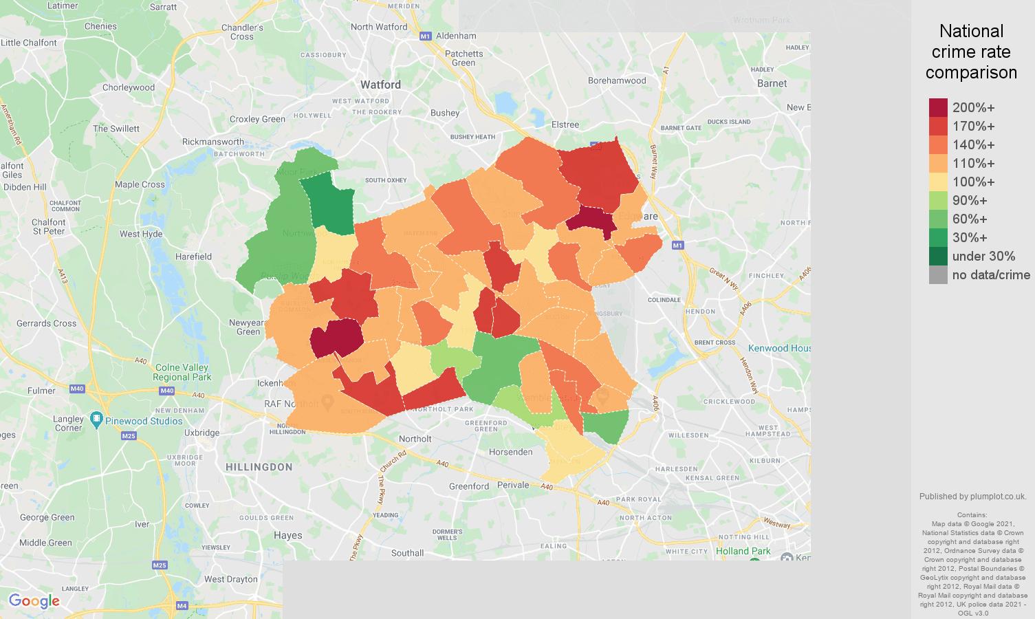 Harrow burglary crime rate comparison map