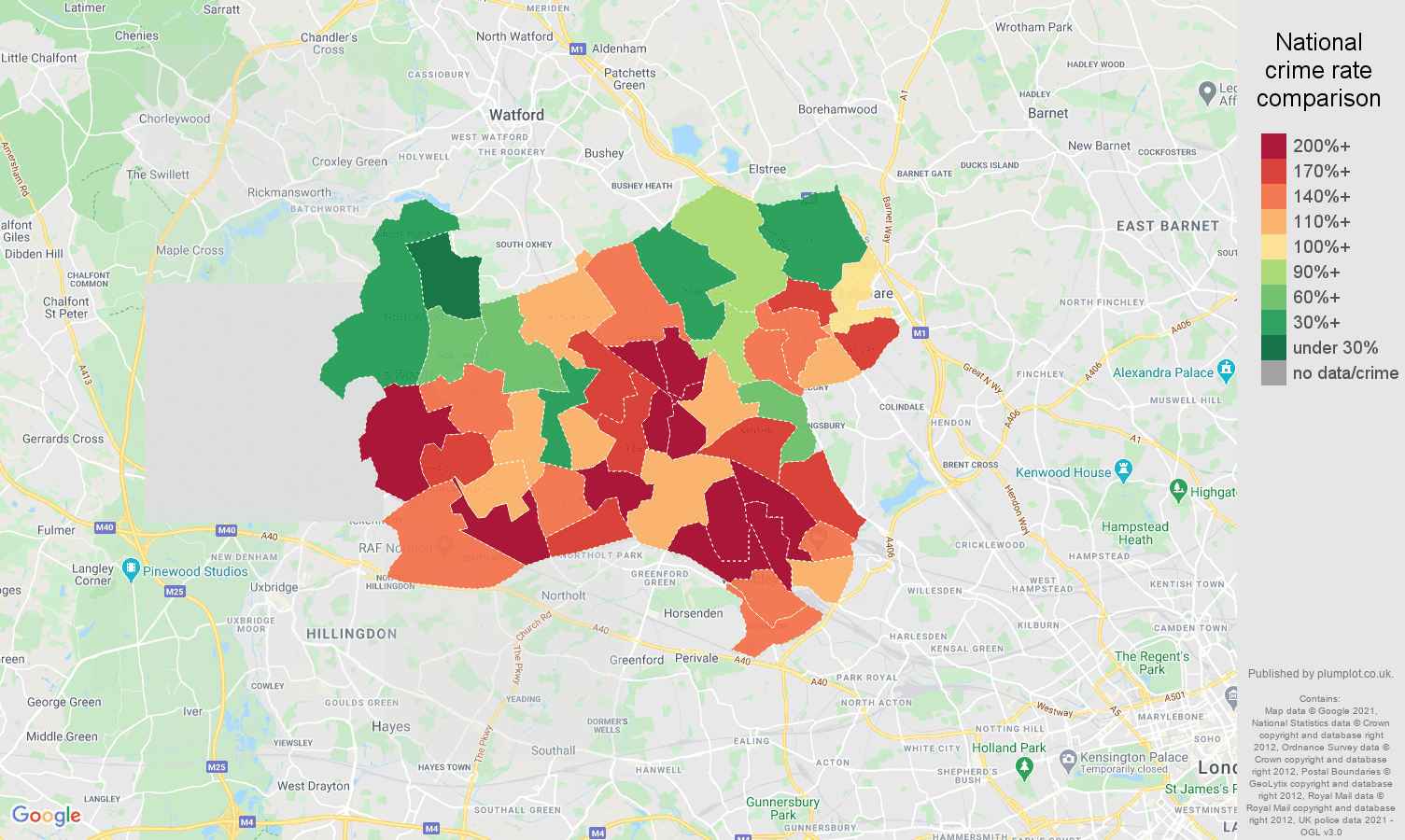Harrow drugs crime rate comparison map