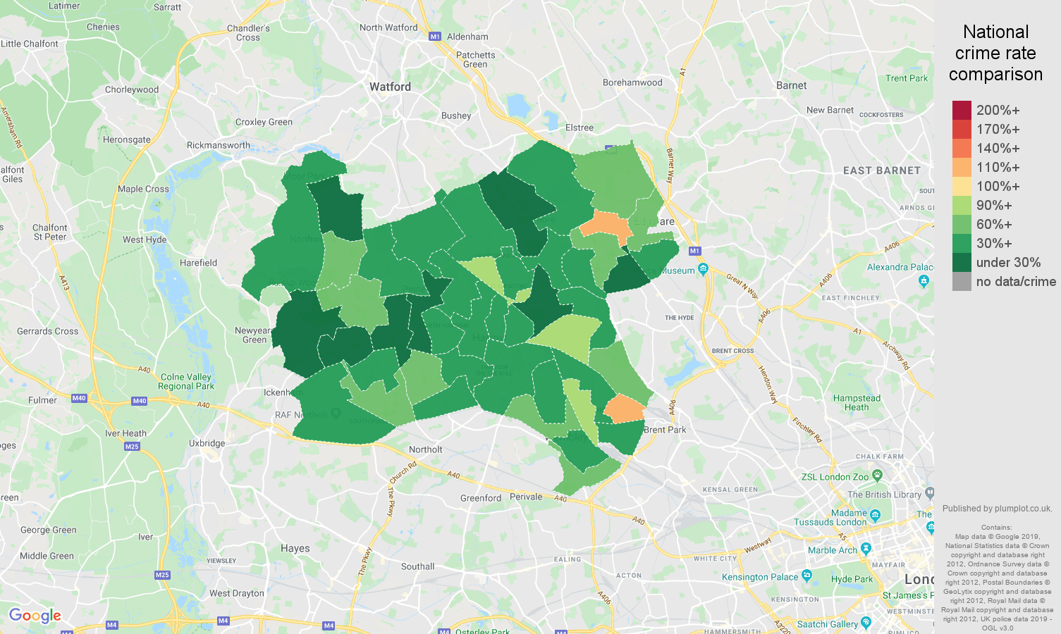 Harrow other crime rate comparison map