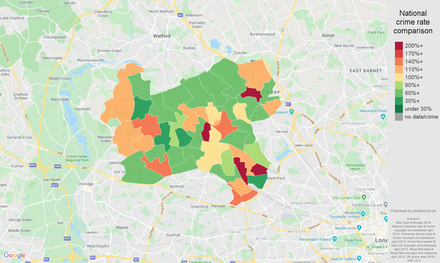 Harrow other theft crime rate comparison map
