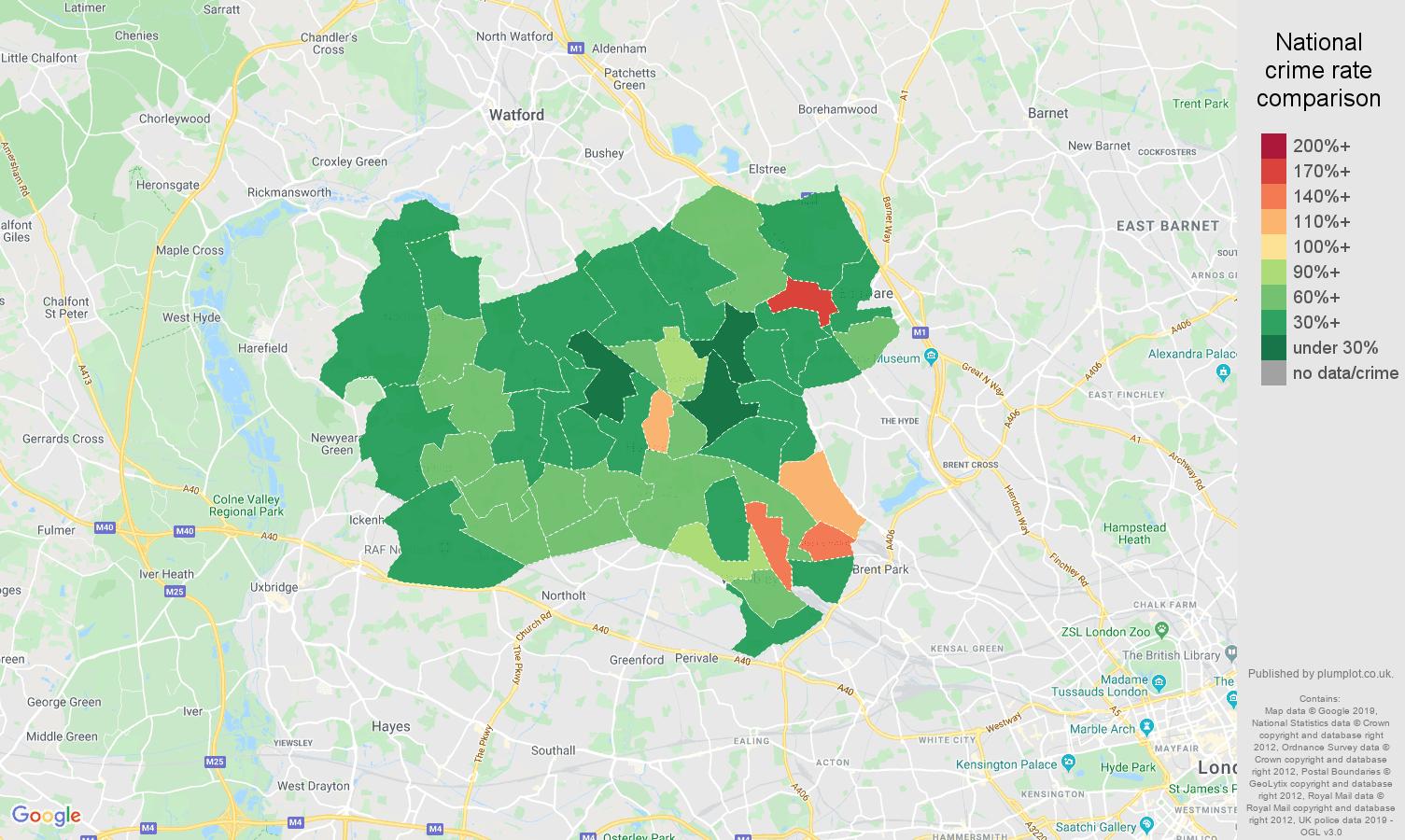 Harrow public order crime rate comparison map