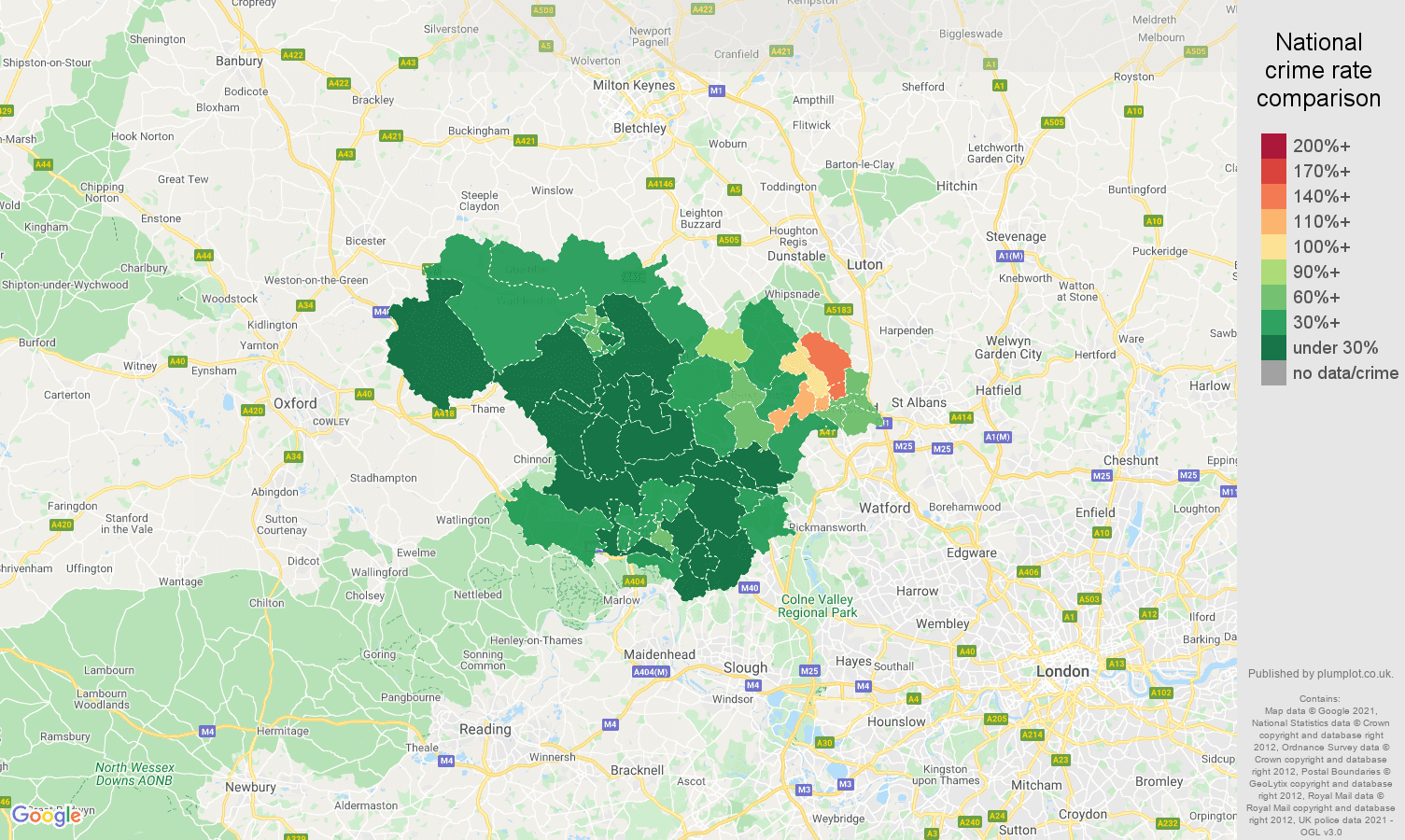 Hemel Hempstead antisocial behaviour crime rate comparison map