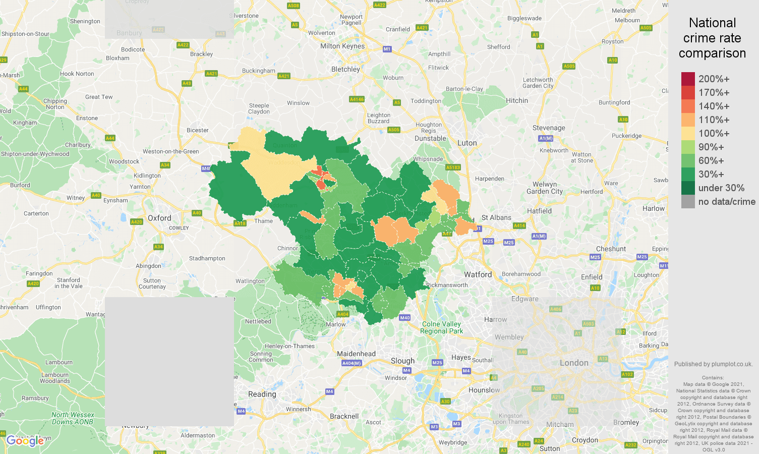 Hemel Hempstead violent crime rate comparison map