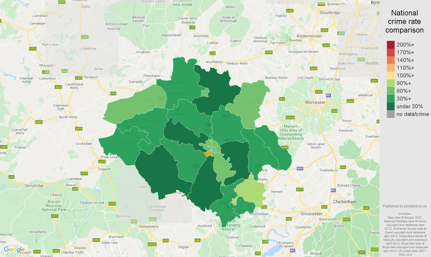 Hereford antisocial behaviour crime rate comparison map