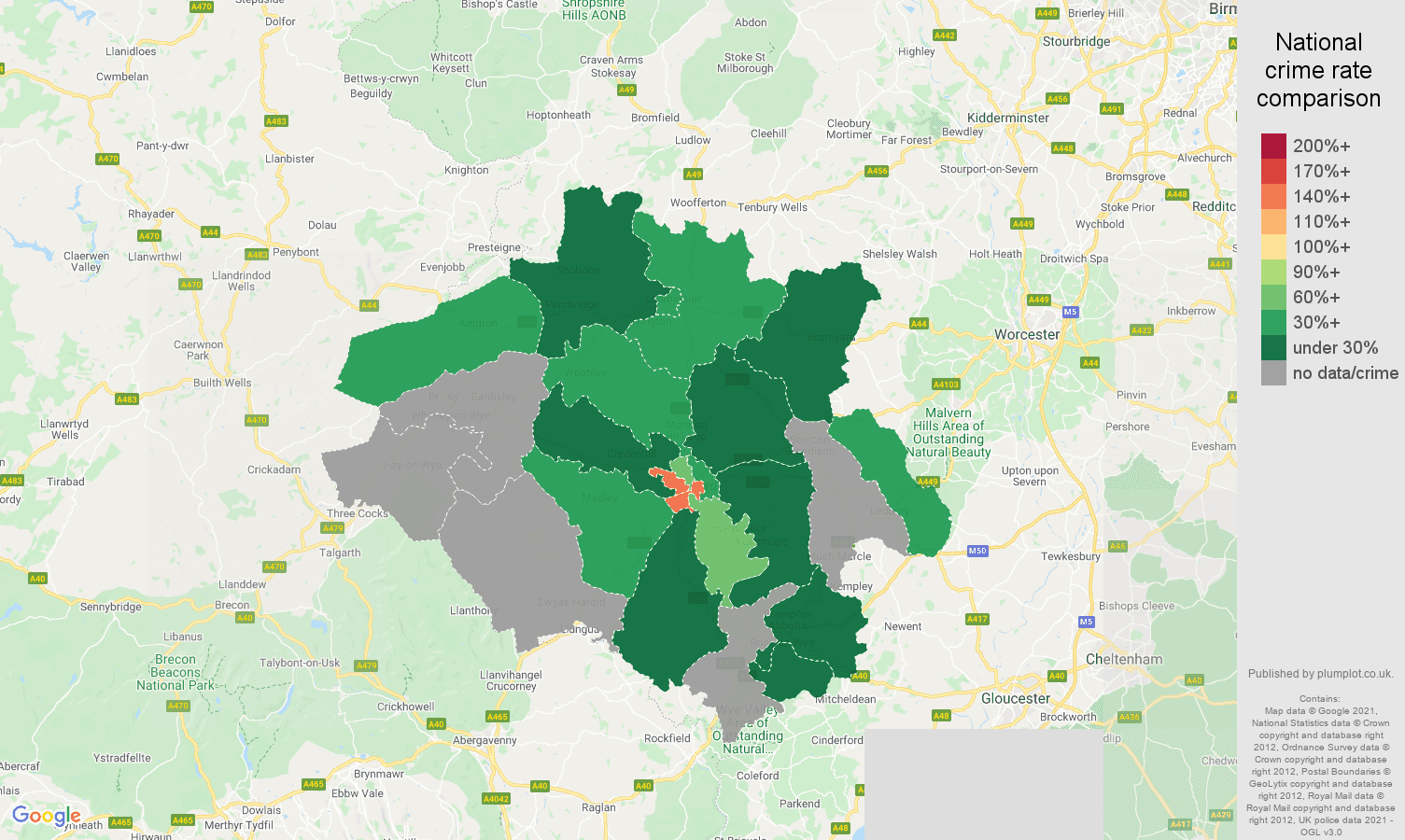 Hereford bicycle theft crime rate comparison map