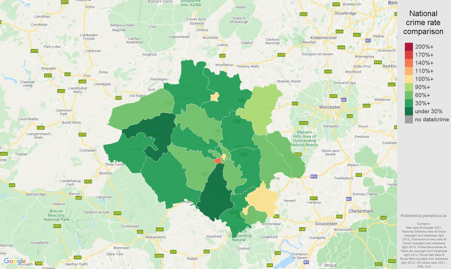 Hereford criminal damage and arson crime rate comparison map