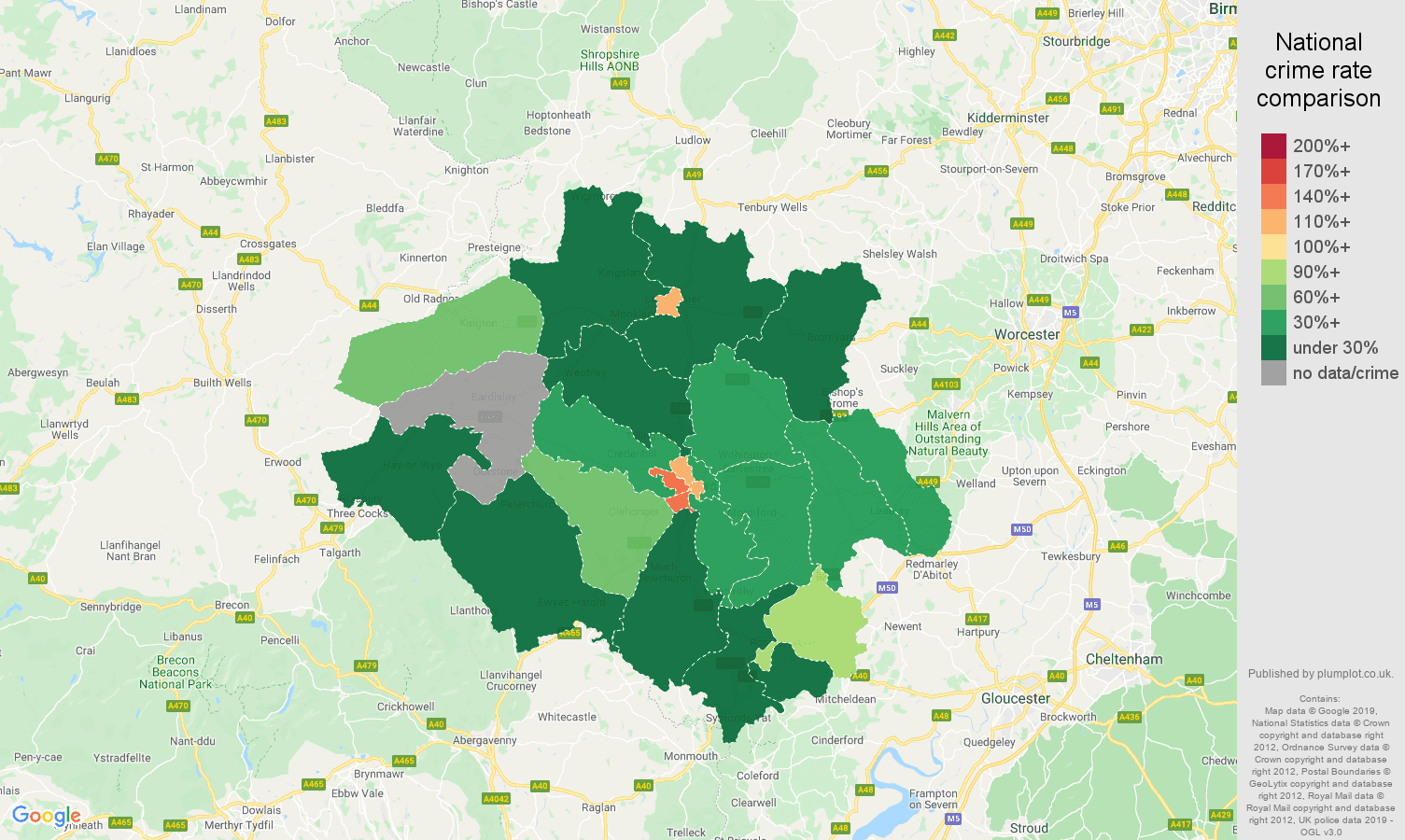 Hereford other crime rate comparison map