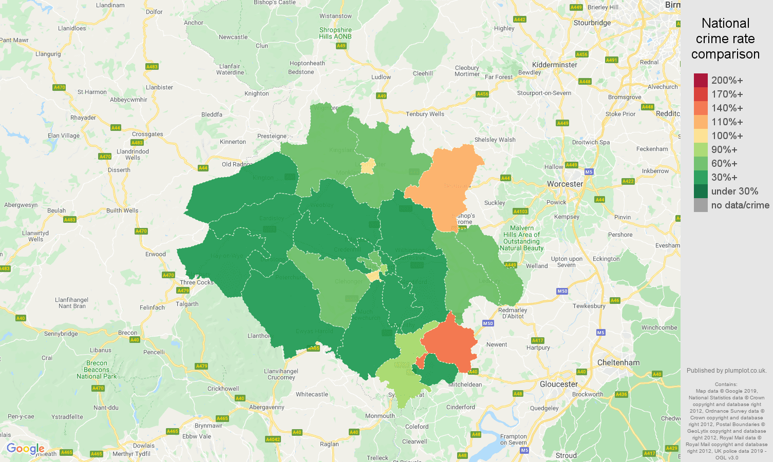 Hereford other theft crime rate comparison map