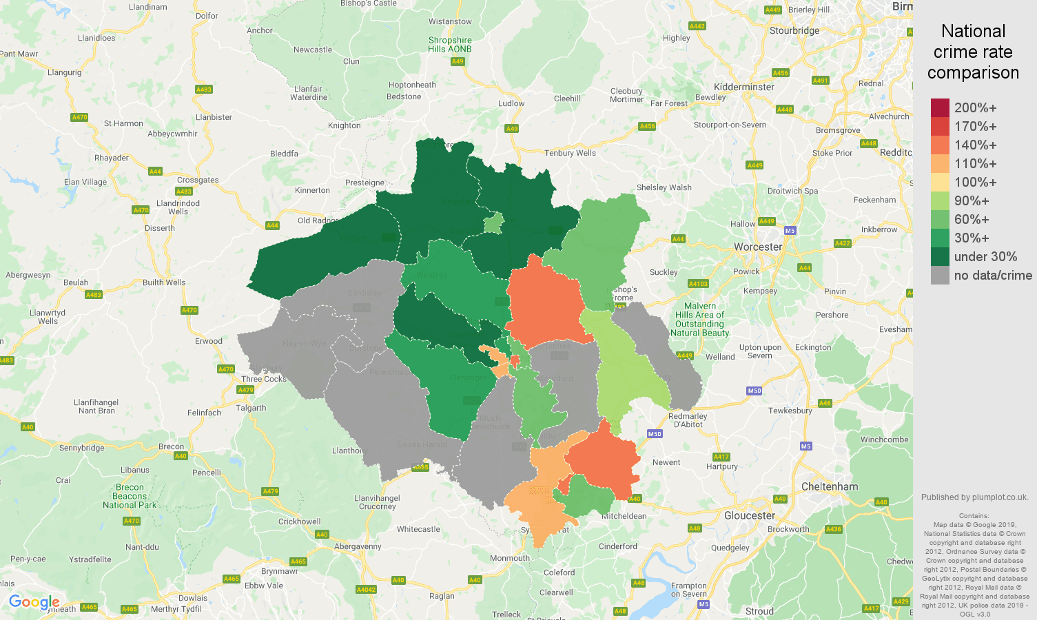 Hereford possession of weapons crime rate comparison map