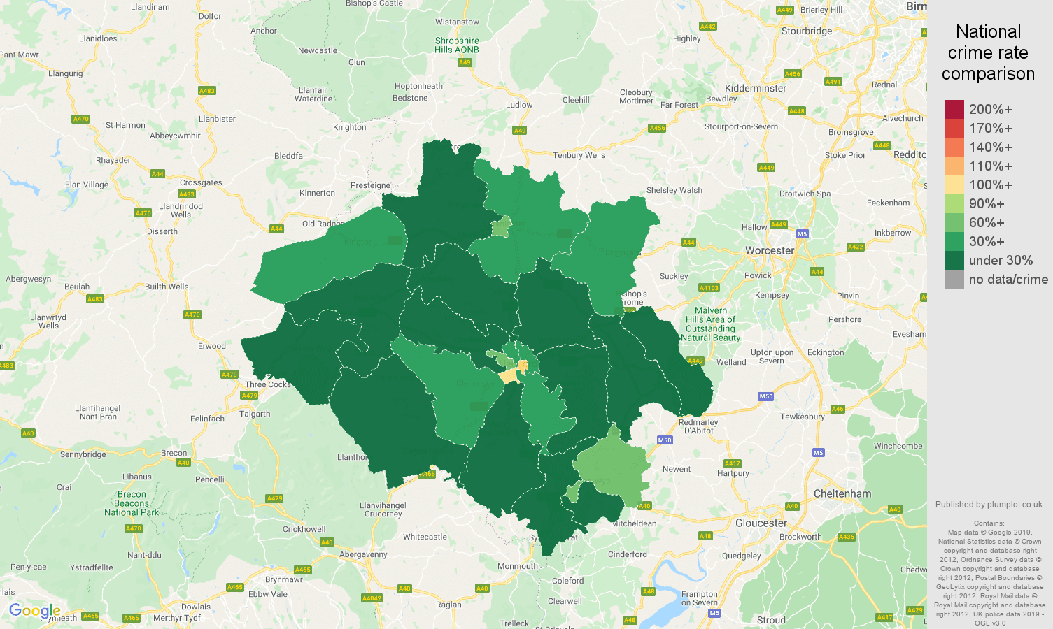 Hereford public order crime rate comparison map