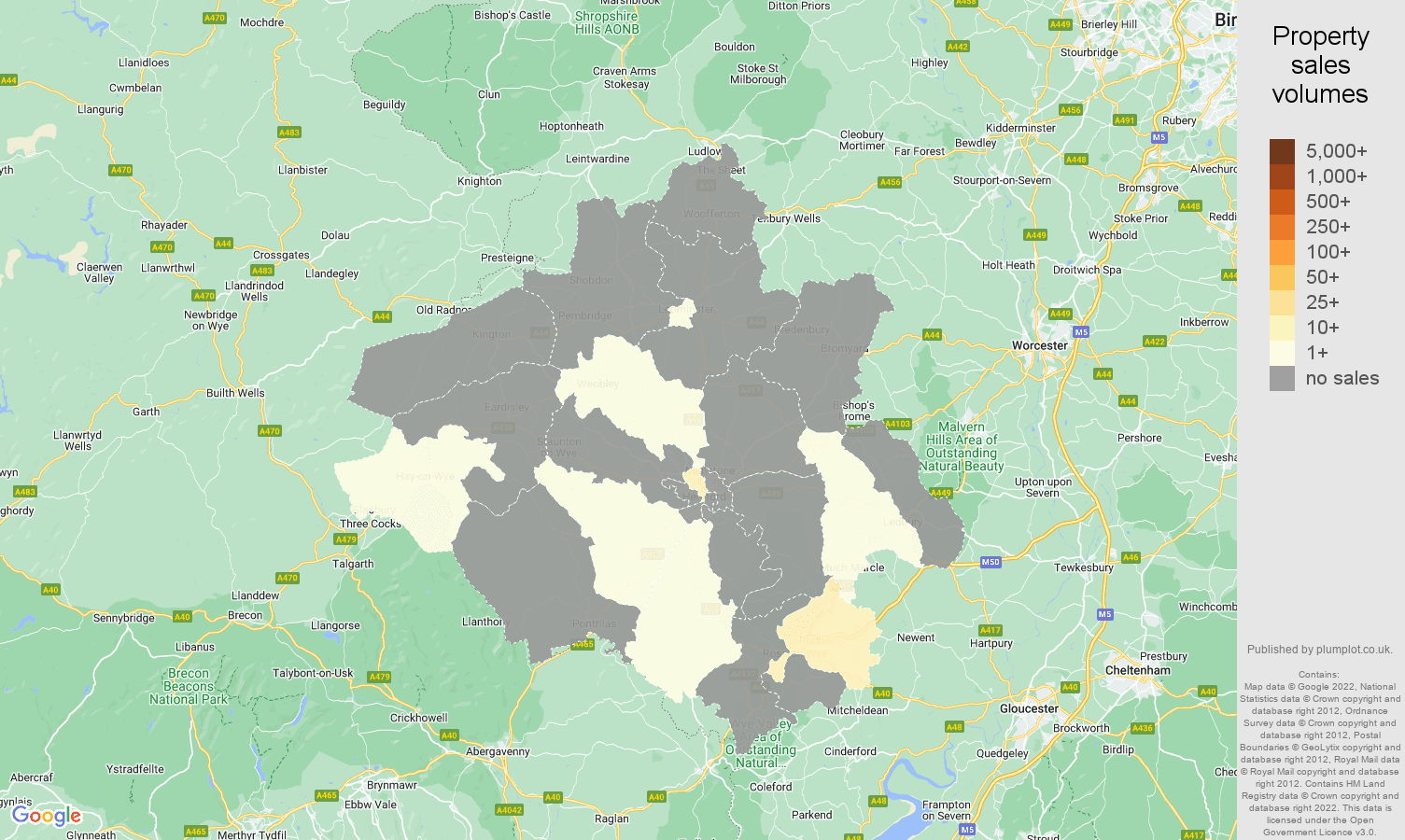 Herefordshire map of sales of new properties