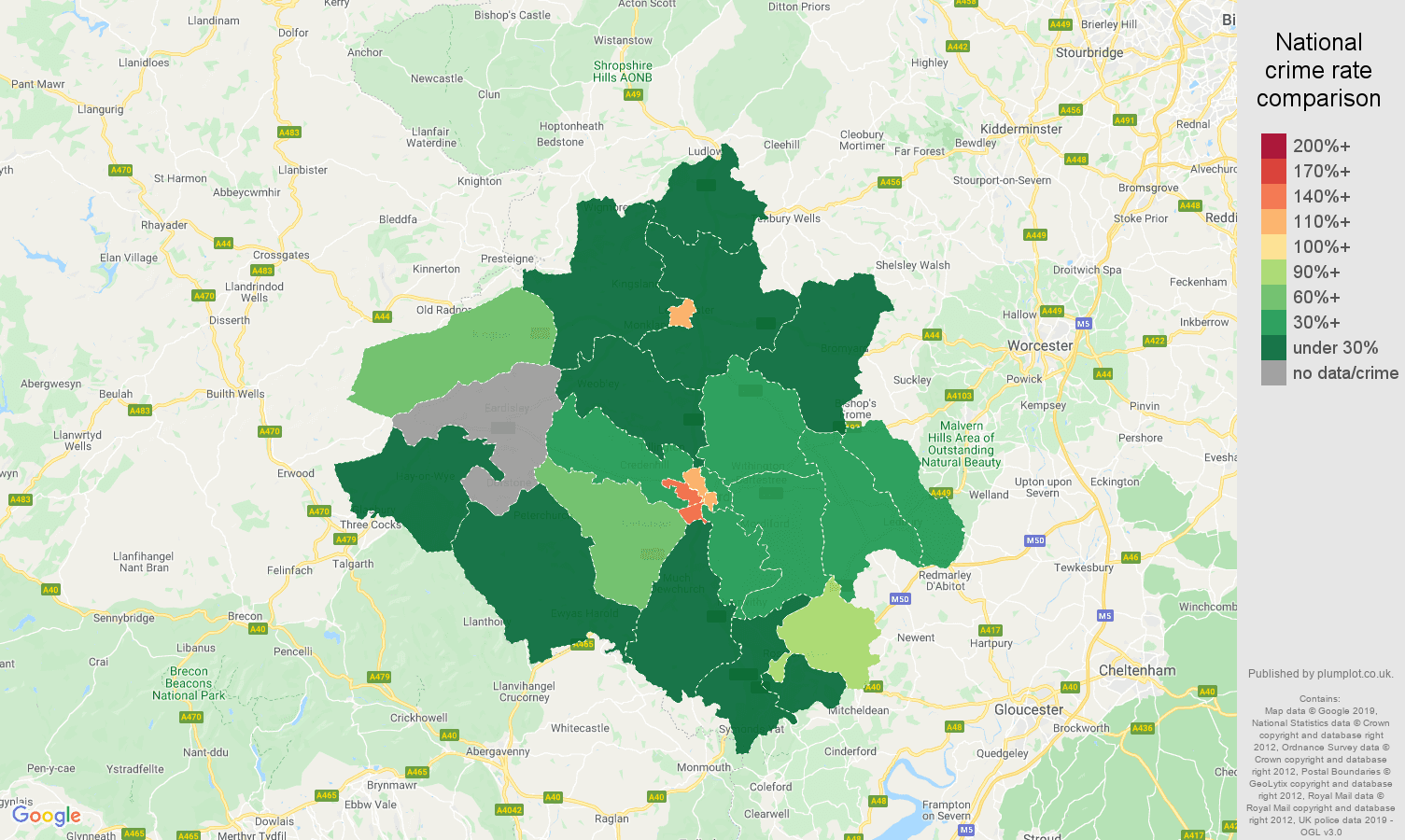 Herefordshire other crime rate comparison map