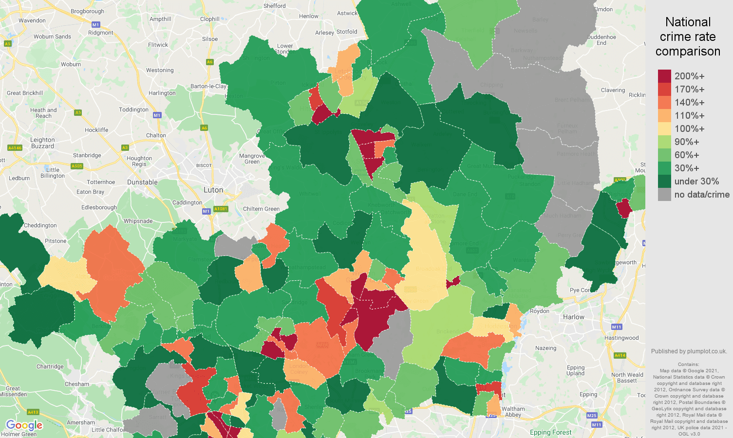 Hertfordshire bicycle theft crime rate comparison map