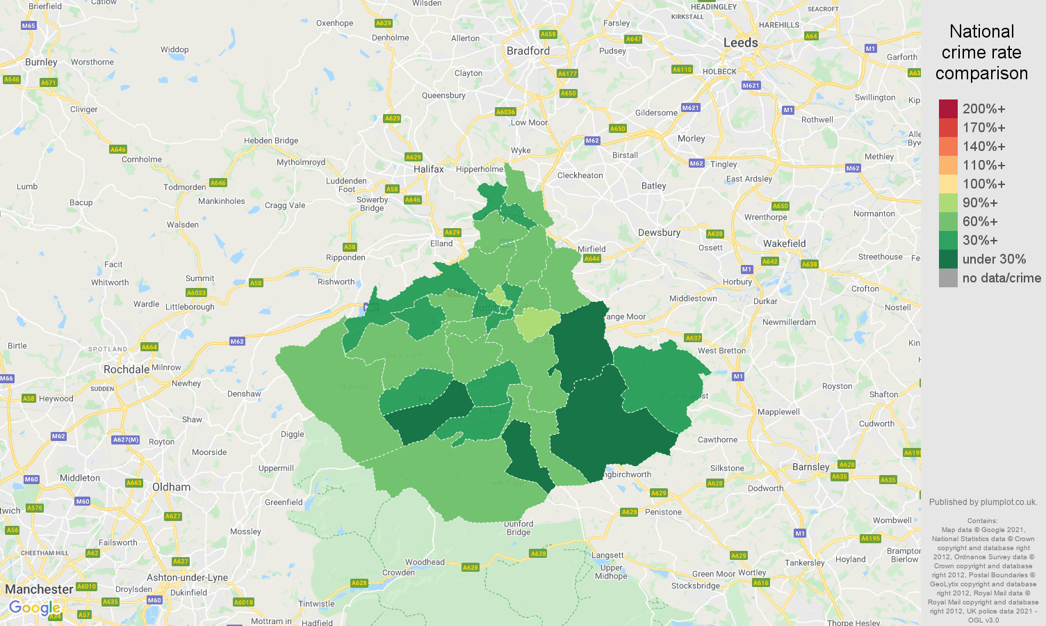 Huddersfield antisocial behaviour crime rate comparison map