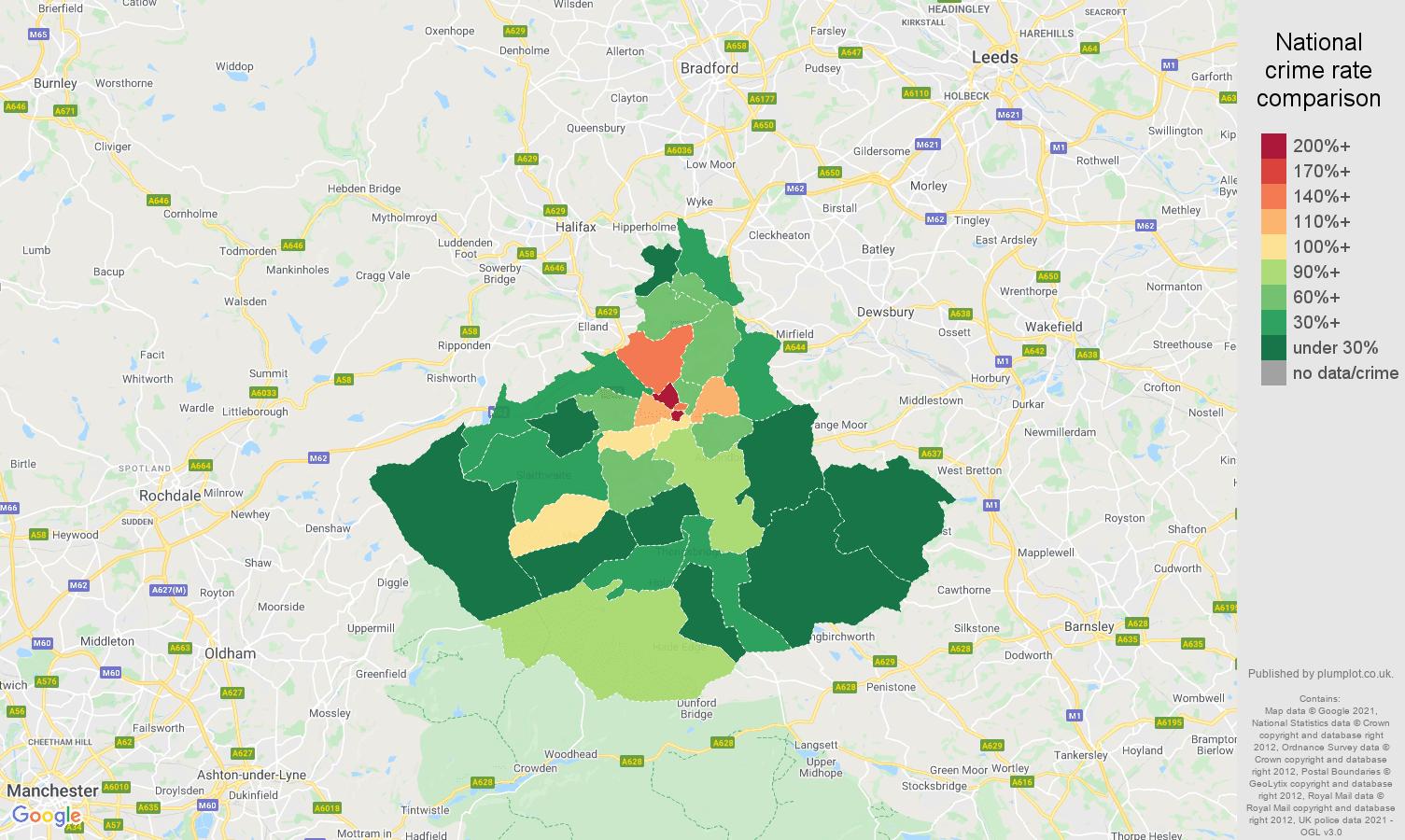 Huddersfield drugs crime rate comparison map