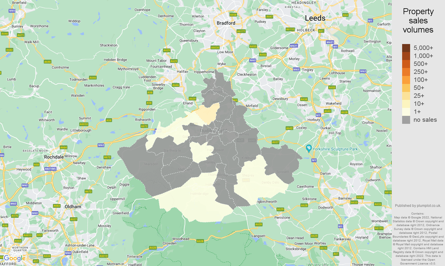 Huddersfield map of sales of new properties