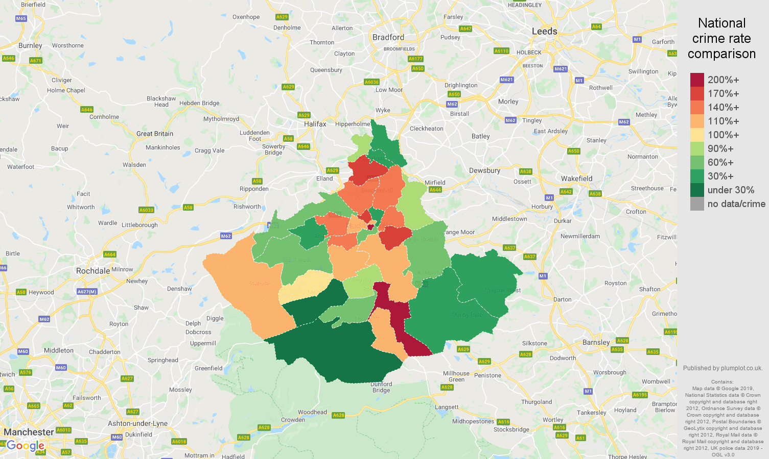 Huddersfield other crime rate comparison map