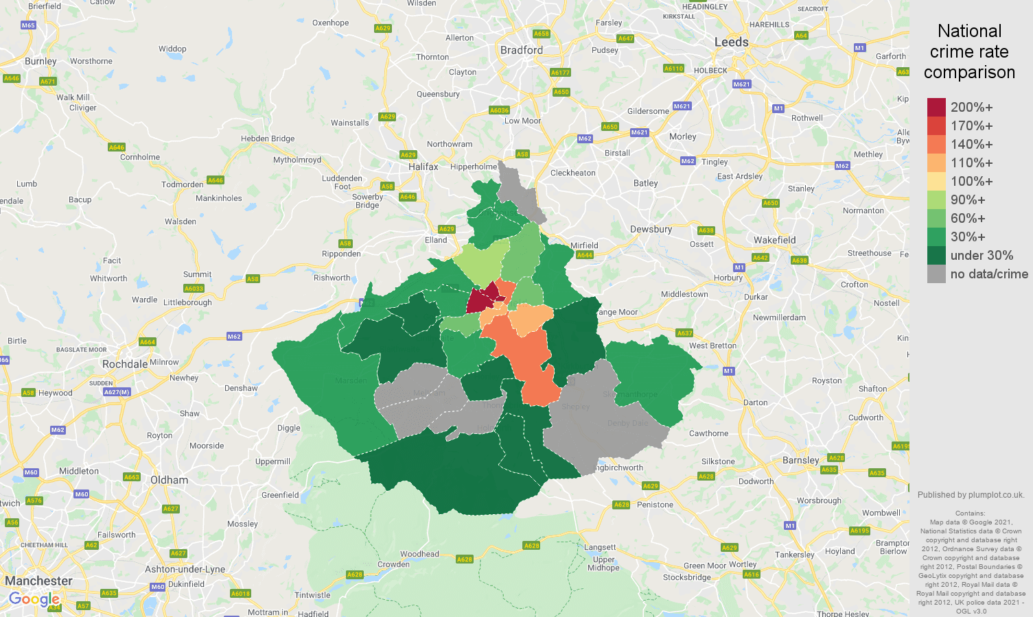 Huddersfield robbery crime rate comparison map