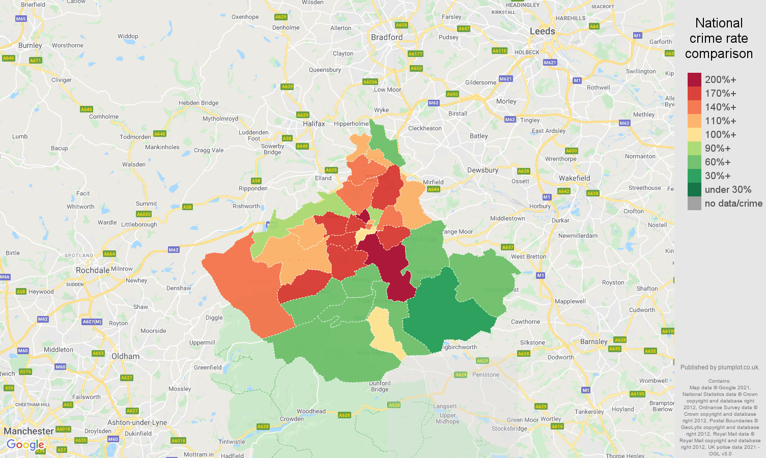 Huddersfield violent crime rate comparison map