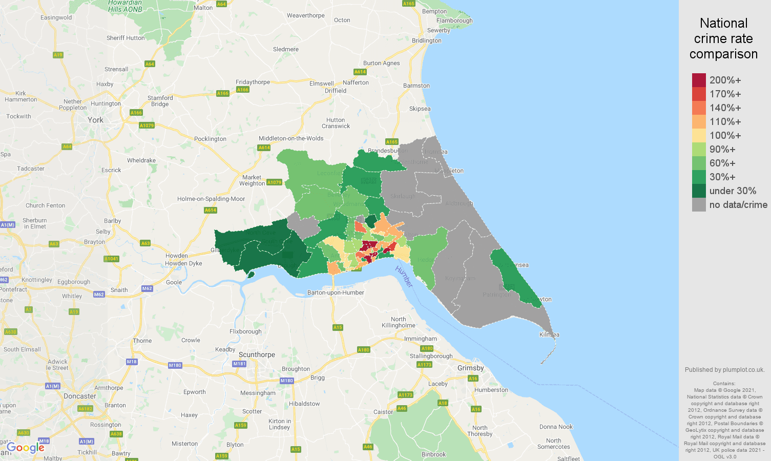 Hull bicycle theft crime rate comparison map