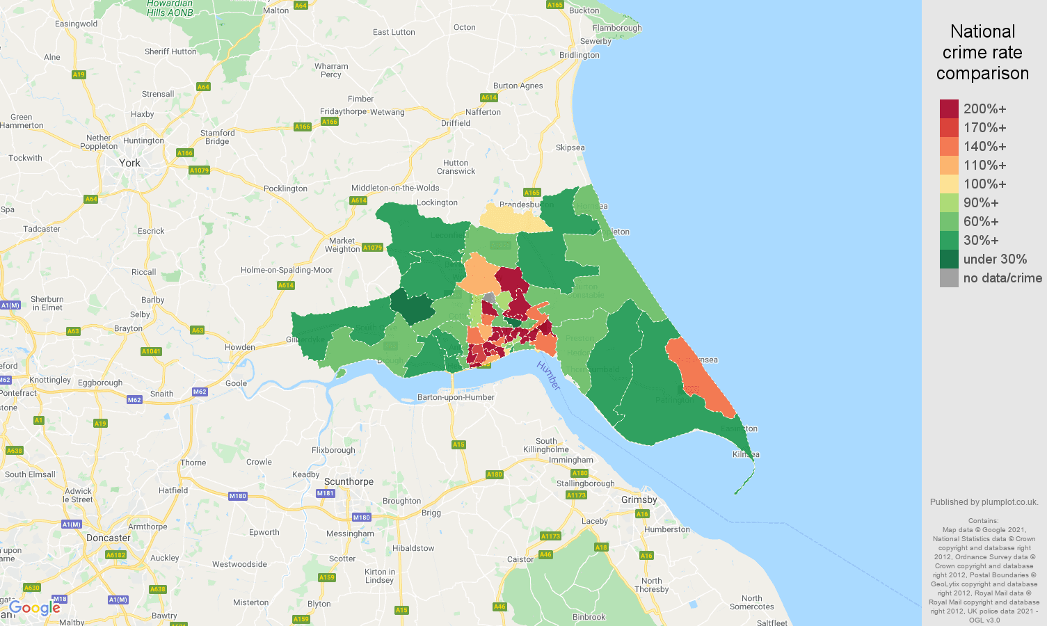 Hull criminal damage and arson crime rate comparison map