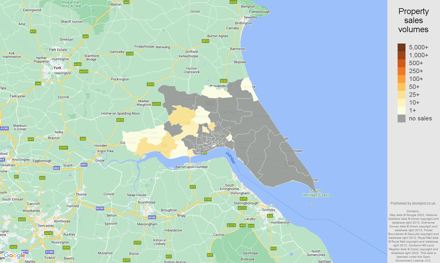 Hull map of sales of new properties