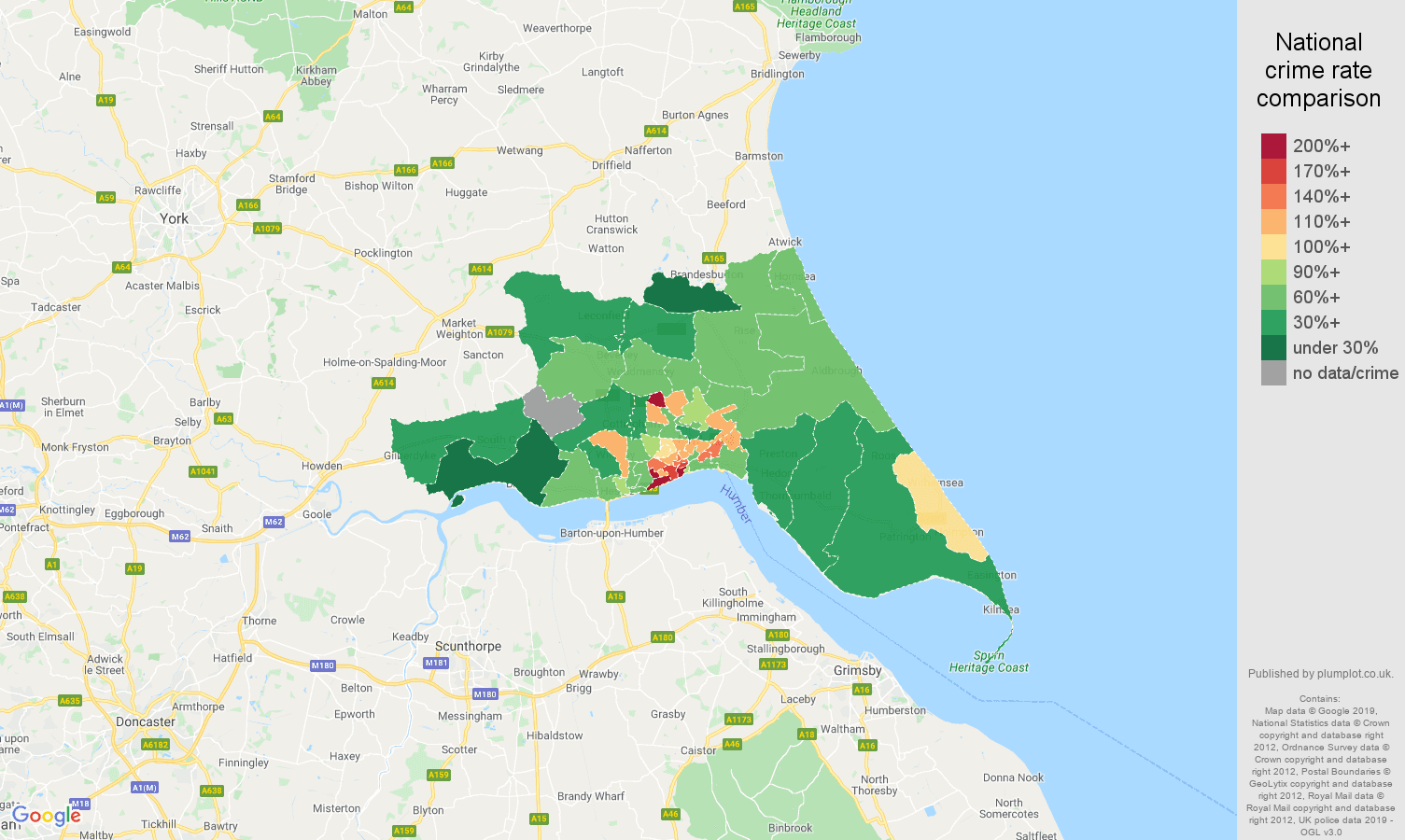 Hull other theft crime rate comparison map