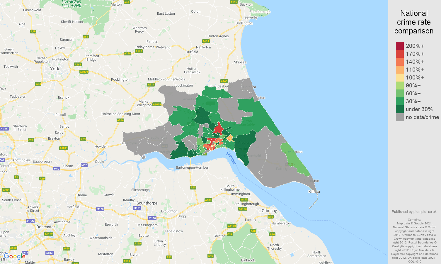 Hull robbery crime rate comparison map