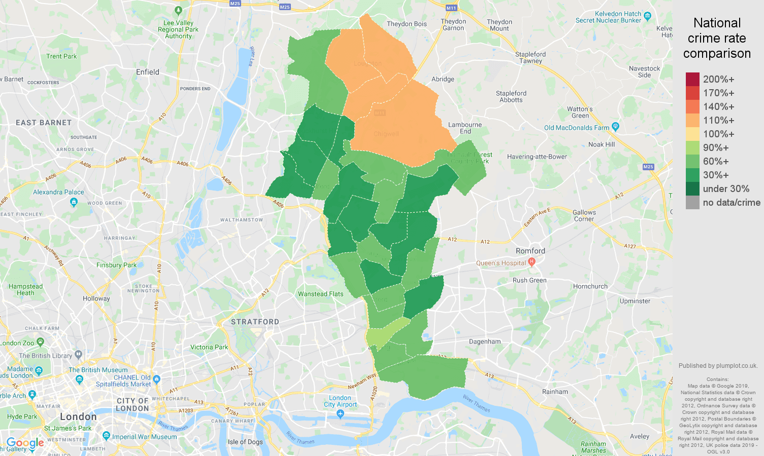Ilford other crime rate comparison map