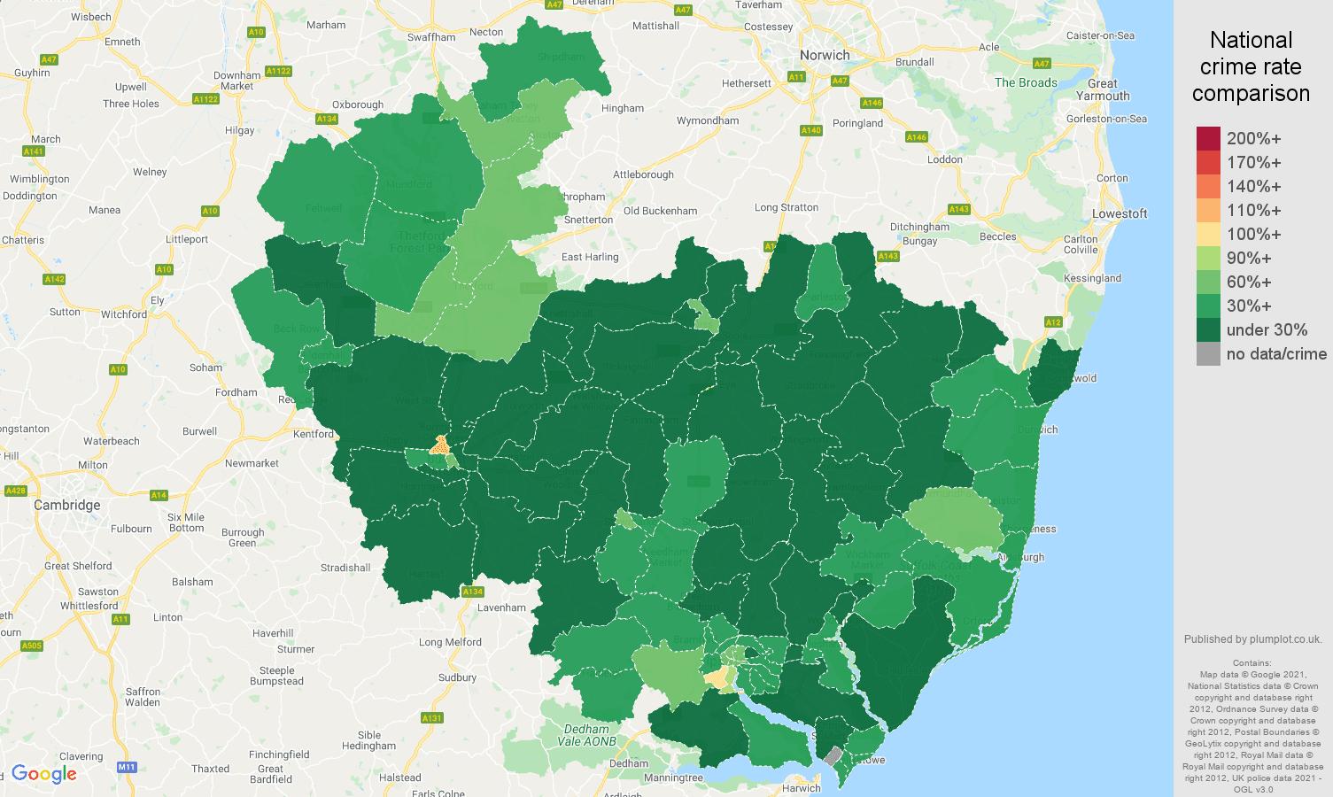 Ipswich antisocial behaviour crime rate comparison map