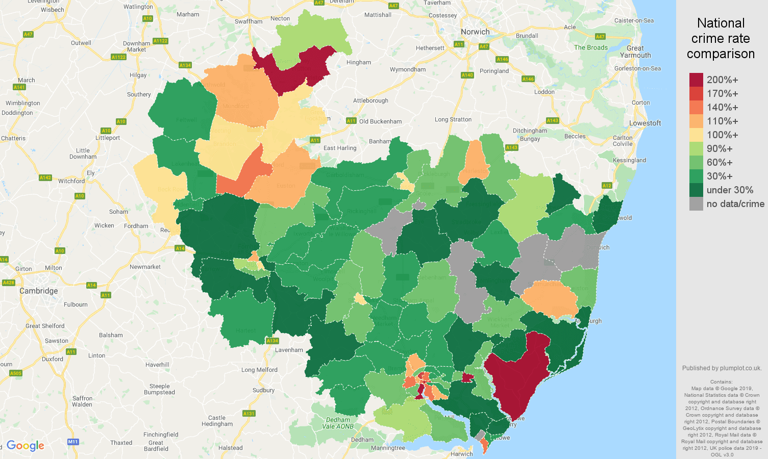 Ipswich other crime rate comparison map