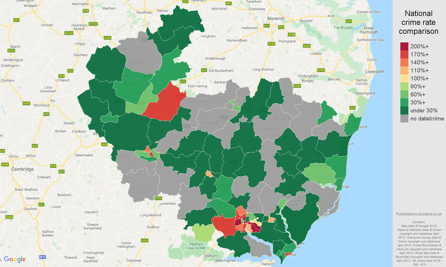 Ipswich shoplifting crime rate comparison map