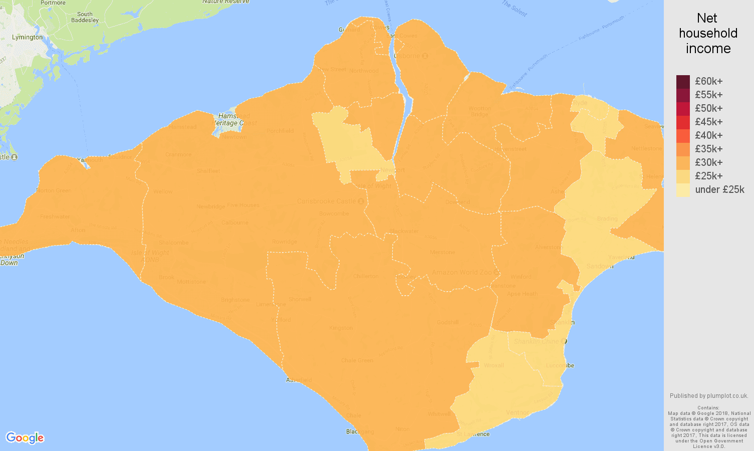 Isle of Wight net household income map
