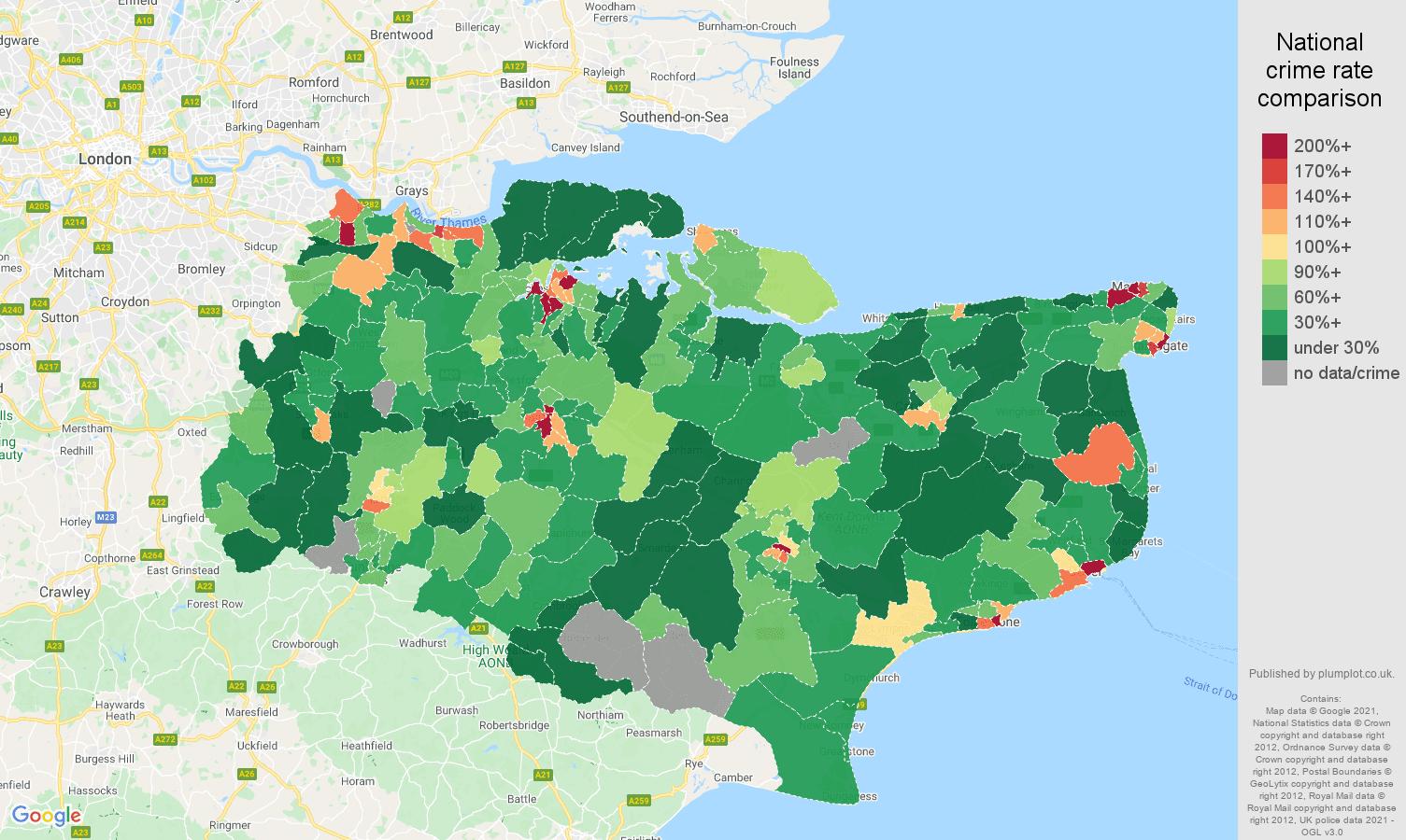 Kent drugs crime rate comparison map