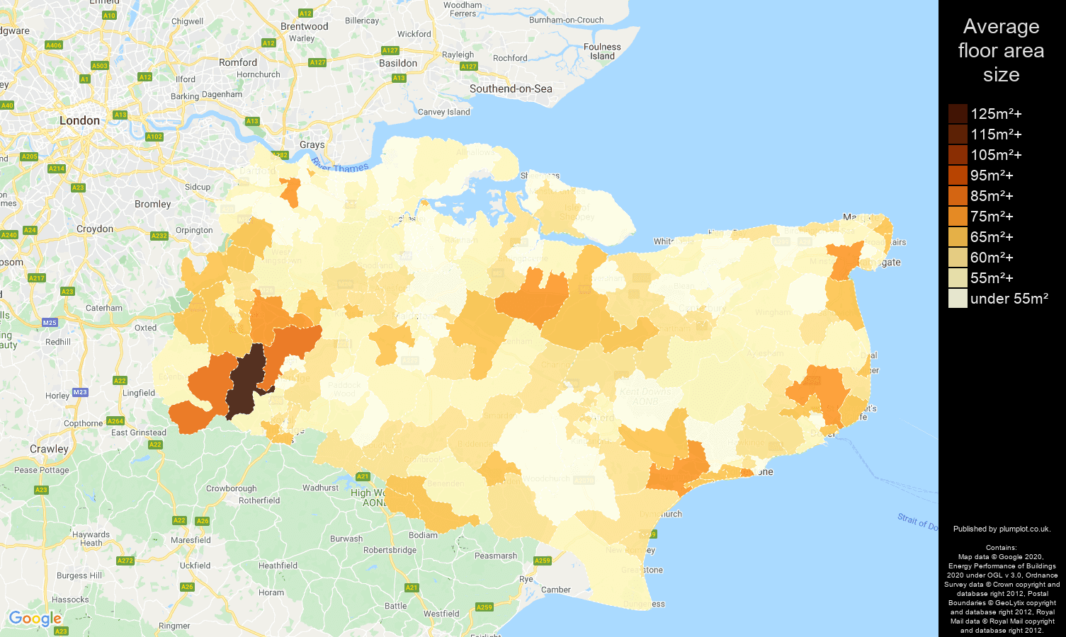Kent map of average floor area size of flats