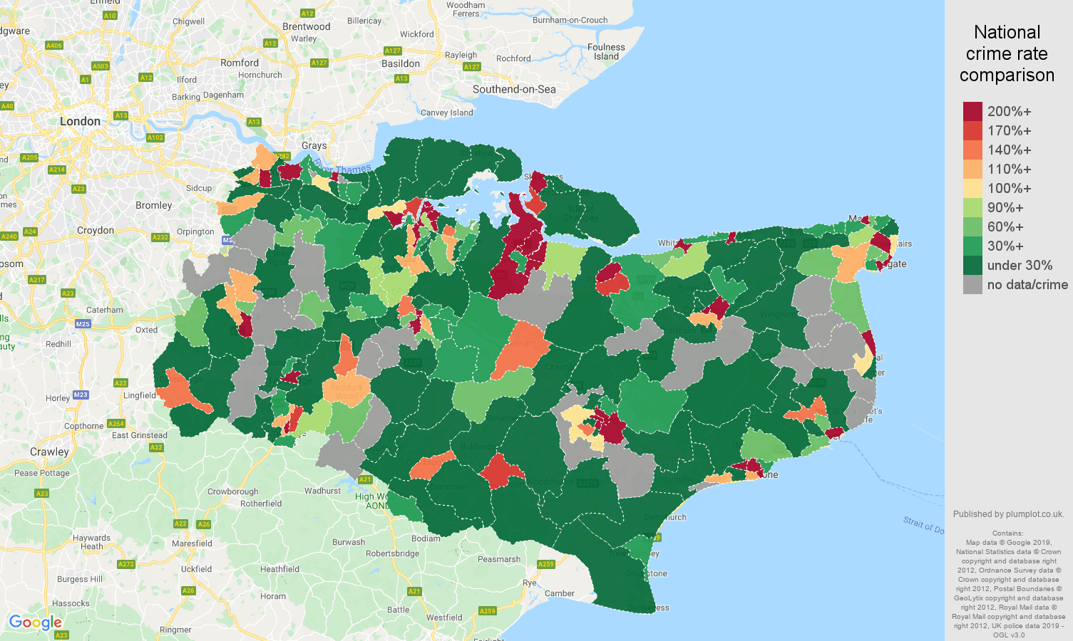 Kent shoplifting crime rate comparison map