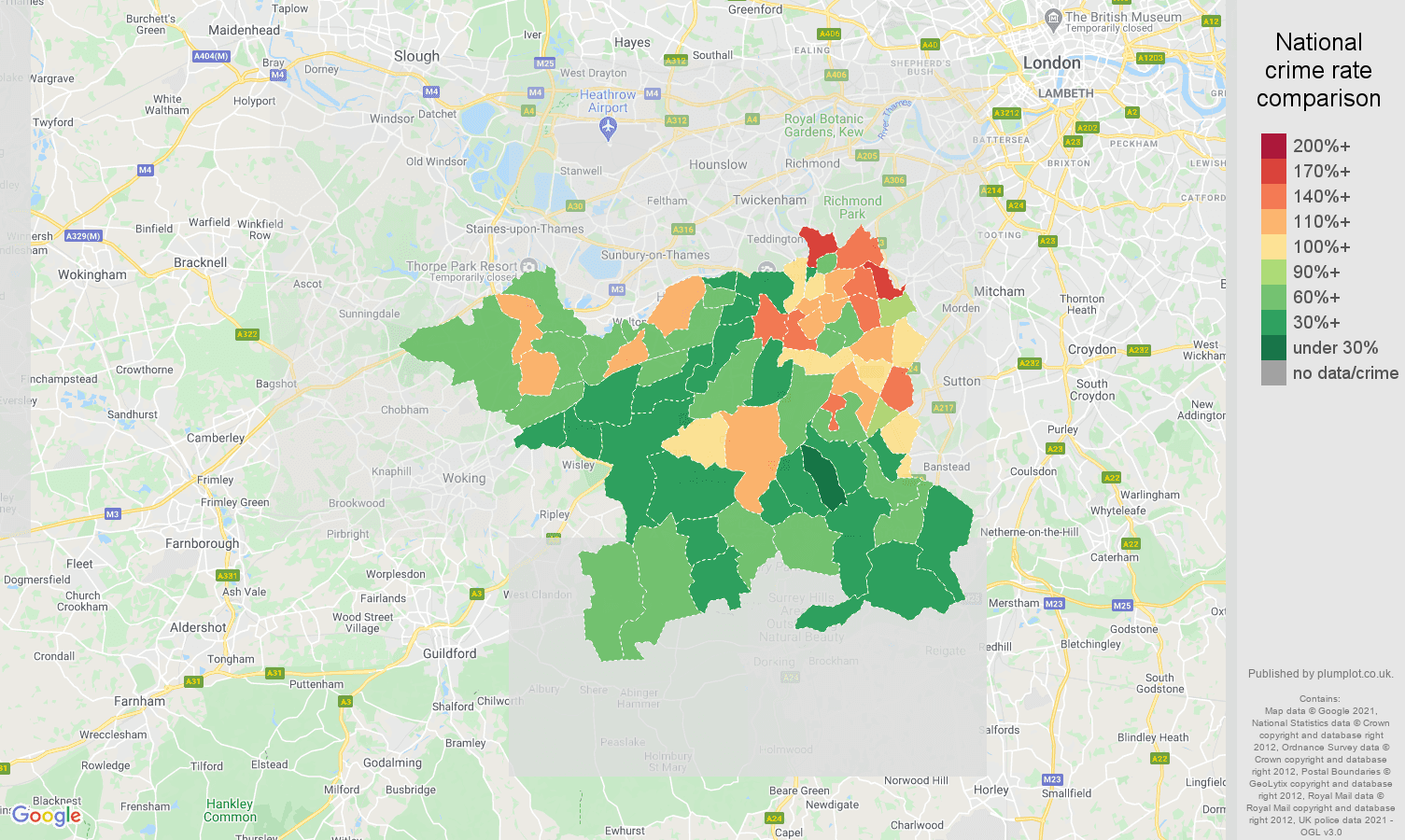 Kingston upon Thames burglary crime rate comparison map