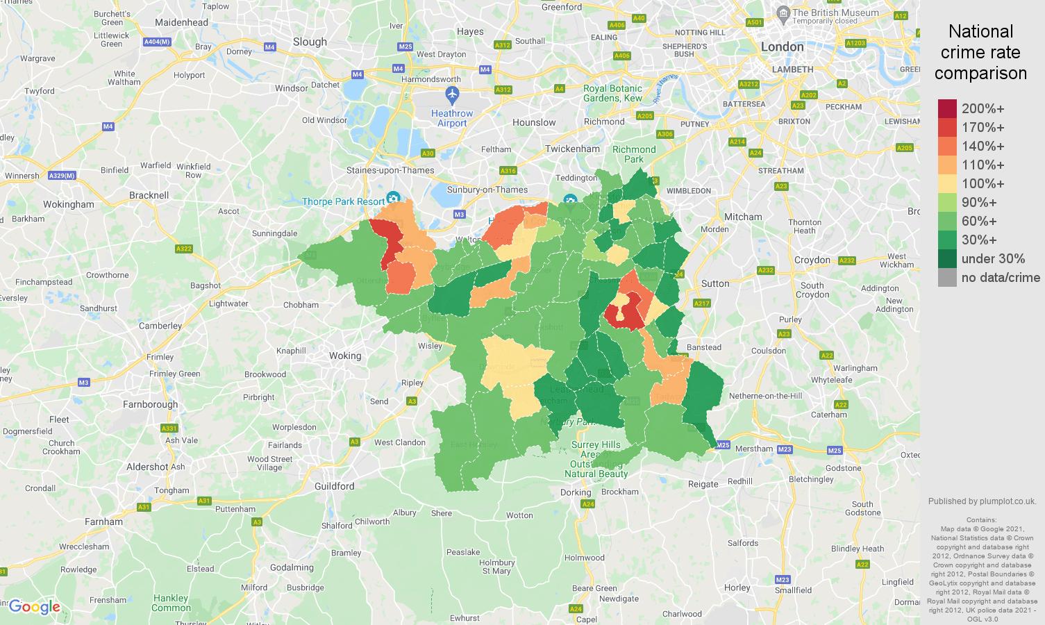 Kingston upon Thames criminal damage and arson crime rate comparison map