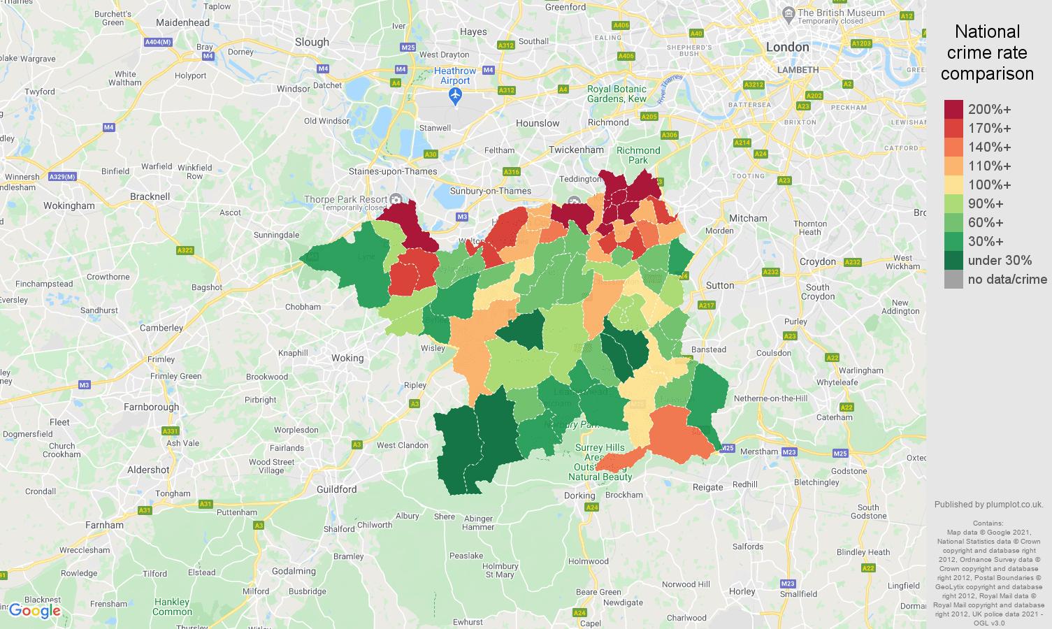 Kingston upon Thames drugs crime rate comparison map
