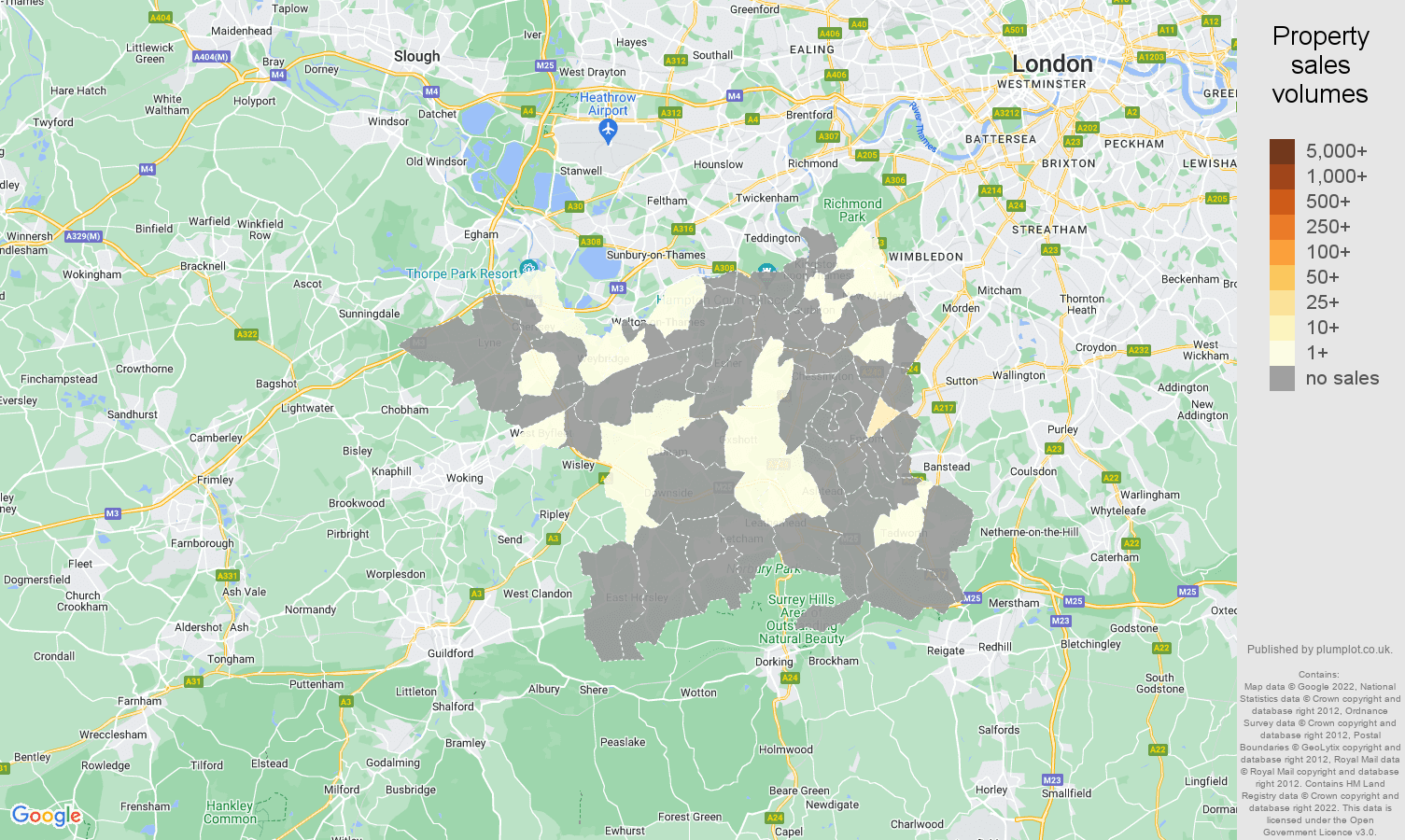 Kingston upon Thames map of sales of new properties